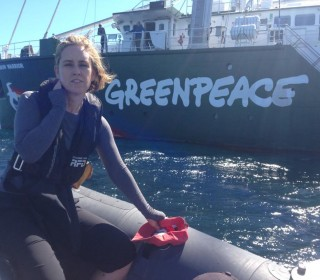 On board the Rainbow Warrior off Freo