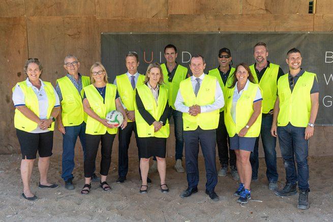 Construction progressing at iconic Fremantle netball hub