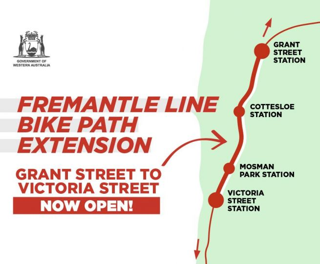 3km extension of Perth-Fremantle Principal Shared Path now open